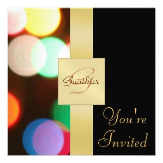 Christmas Lights Holiday New Years Invitation