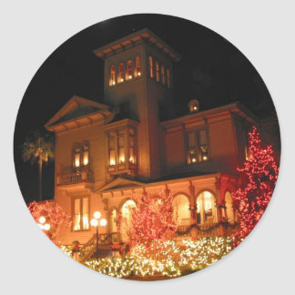 Christmas Lights House Classic Round Sticker