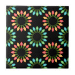 Christmas Lights in Colorful Circles Small Square Tile