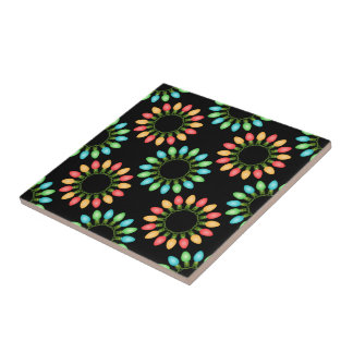 Christmas Lights in Colorful Circles Tile