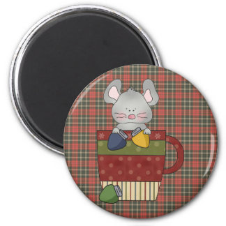 christmas lights mouse in cup 2 inch round magnet