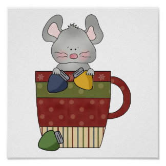 christmas lights mouse in cup poster