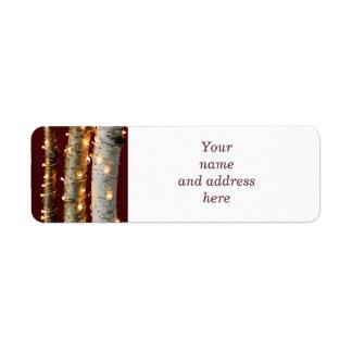 Christmas lights on birch trunks return address label