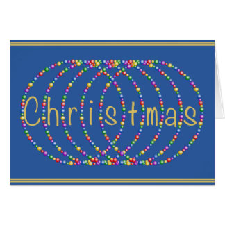 Christmas Lights on Blue Background Card