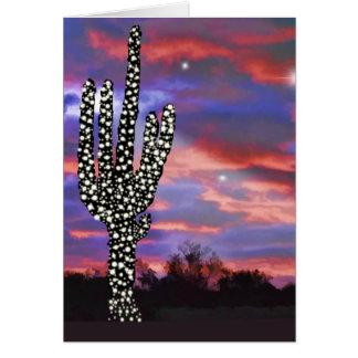 Christmas Lights on Desert Saguaro Cactus Card
