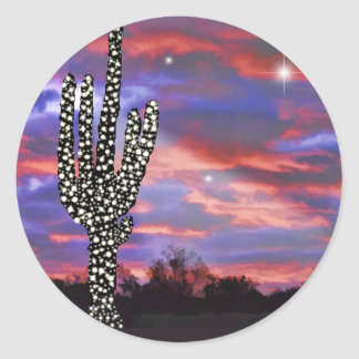 Christmas Lights on Desert Saguaro Cactus Classic Round Sticker