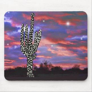 Christmas Lights on Desert Saguaro Cactus Mousepads