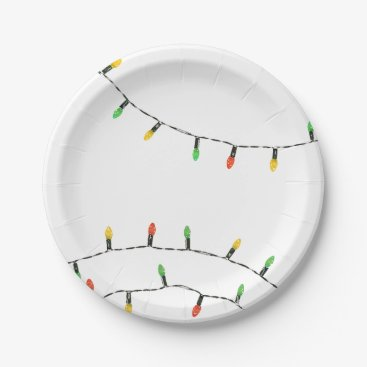 Christmas Themed Christmas Lights Paper Plate