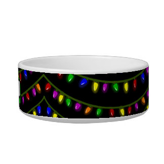 Christmas Lights Pet Bowl Personalized Name Custom