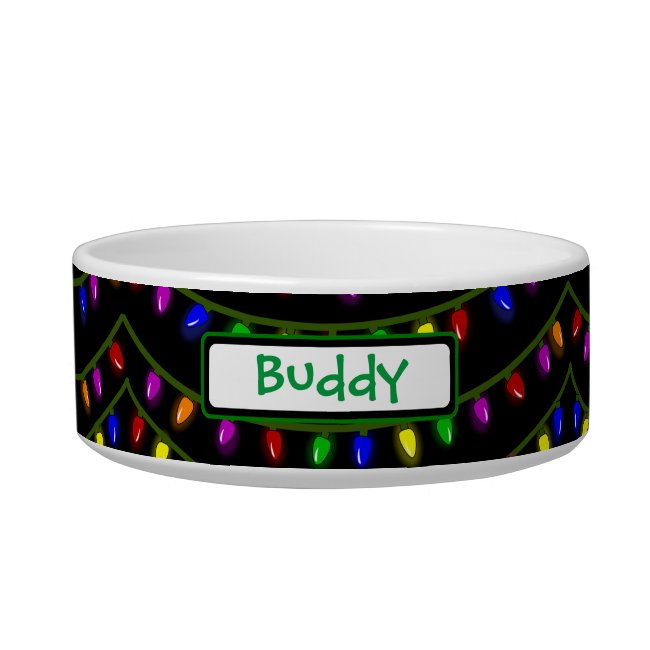 Christmas Lights Pet Bowl Personalized Name Custom