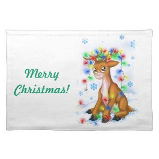 Christmas Lights Reindeer Cloth Placemat