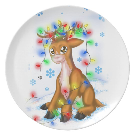 Christmas Lights Reindeer Plate
