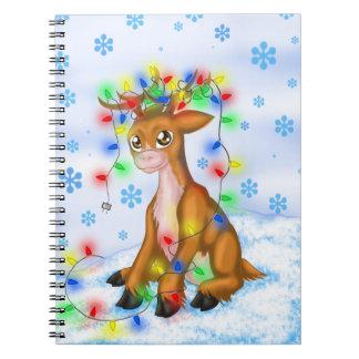 Christmas Lights Reindeer Spiral Notebook