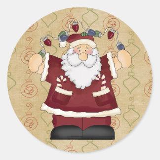 Christmas Lights Santa Stickers