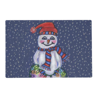 Christmas Lights Smiling Snowman Snowflakes Laminated Place Mat