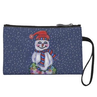 Christmas Lights Smiling Snowman Wristlet Wallet