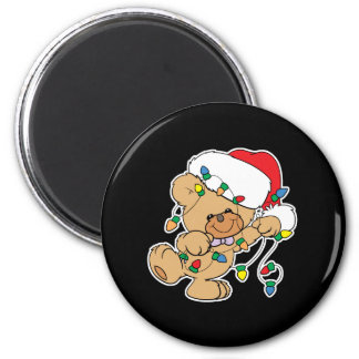 Christmas Lights Teddy Bear 2 Inch Round Magnet