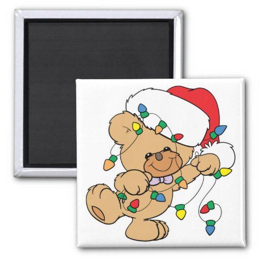 Christmas Lights Teddy Bear 2 Inch Square Magnet