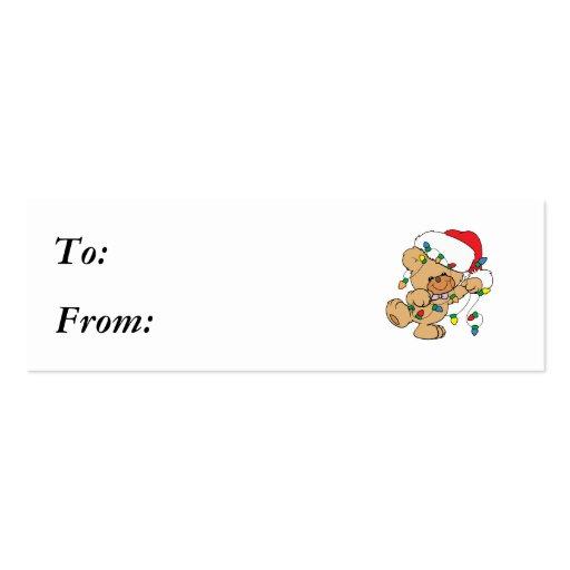Christmas Lights Teddy Bear Business Card Templates