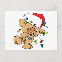 Christmas Lights Teddy Bear Holiday Postcard