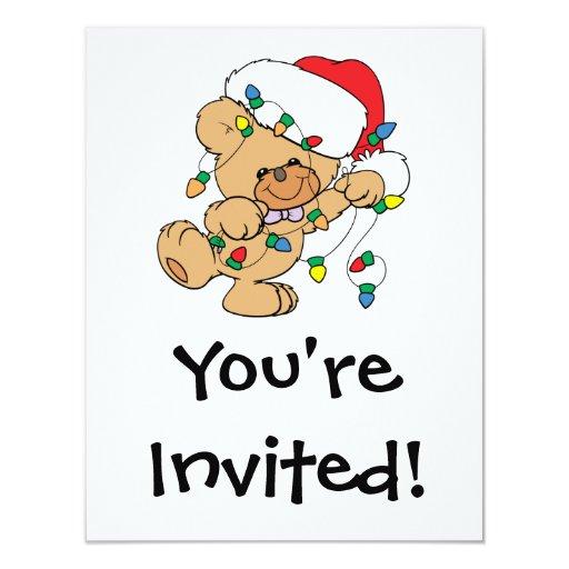 Christmas Lights Teddy Bear 4.25x5.5 Paper Invitation Card