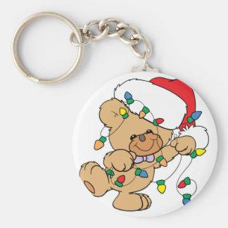 Christmas Lights Teddy Bear Basic Round Button Keychain