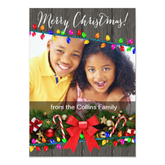 Christmas Lights Woodgrain Photo Greeting 5x7 Paper Invitation Card