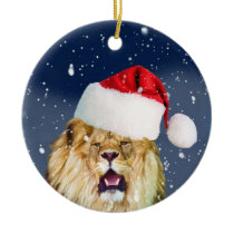 Christmas Lion in Santa Hat Ornament