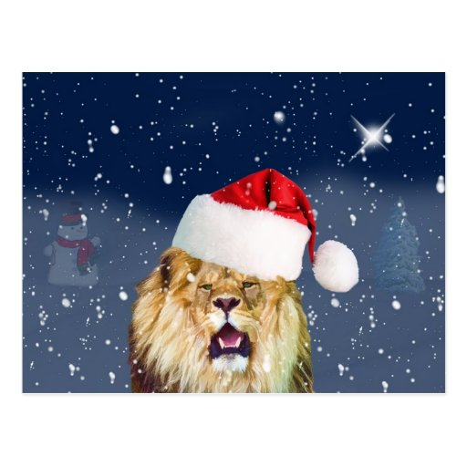 Christmas Lion in Santa Hat Postcard