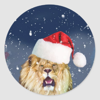 Christmas Lion in Santa Hat Sticker