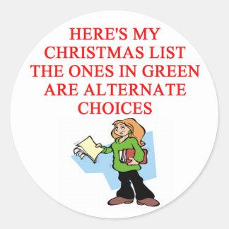 christmas list joke stickers