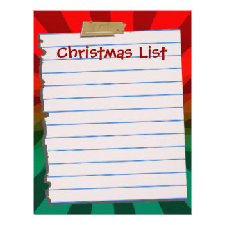 Christmas List Letterhead Stationery
