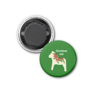 Christmas List Poinsettia Dala Horse Magnet
