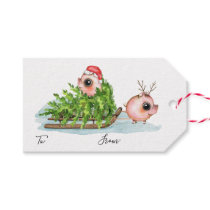 Christmas Little Pig Pulling Sled Gift Tags