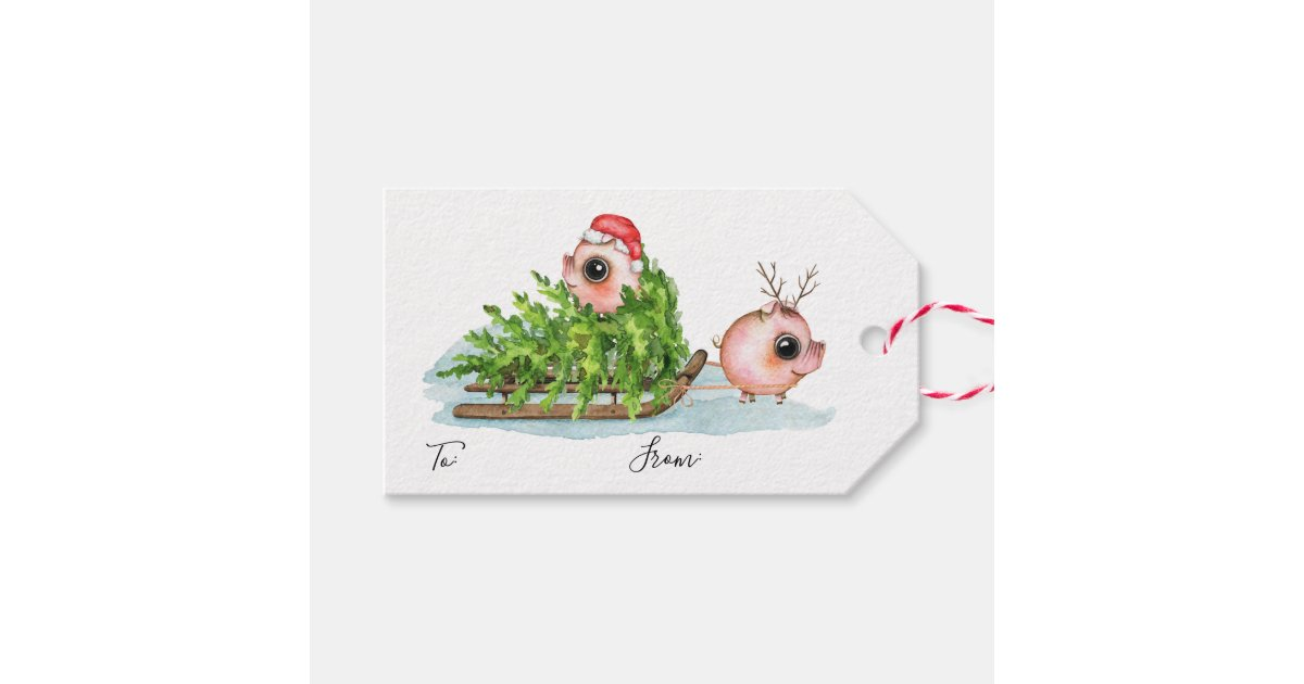Christmas Little Pig Pulling Sled Gift Tags   Zazzle.com