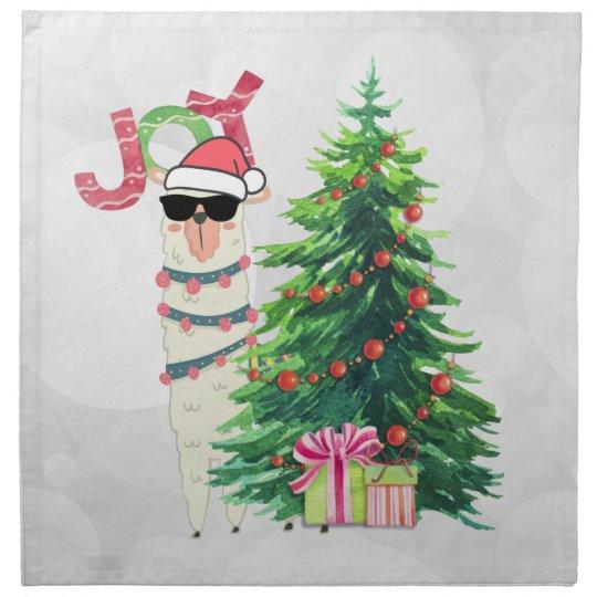 Christmas Llama.Christmas Llama Joy Typography Silver Bokeh Cloth Napkin
