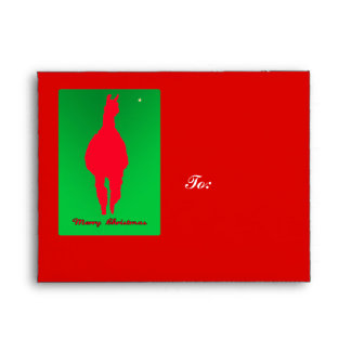 Christmas Llama: Llama In Red w Green - Star Envelope