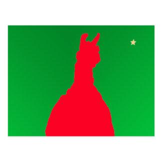 Christmas Llama: Llama In Red w Green - Star Postcard