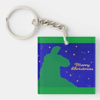 Christmas Llama: Male Llama in profile silhoutte Keychain