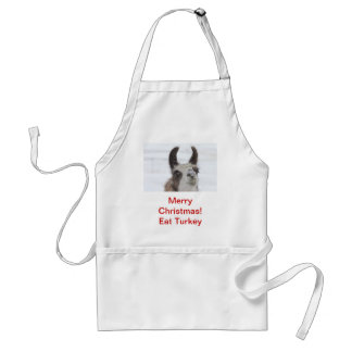 Christmas Llama with Snow on Nose for the Holidays Adult Apron