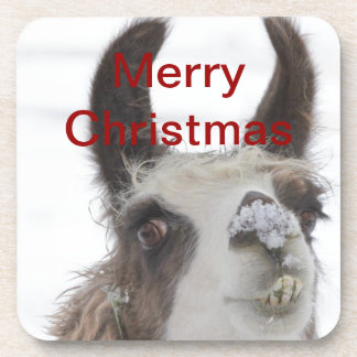 Christmas Llama with Snow on Nose for the Holidays Drink Coaster