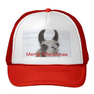 Christmas Llama with Snow on Nose for the Holidays Trucker Hat