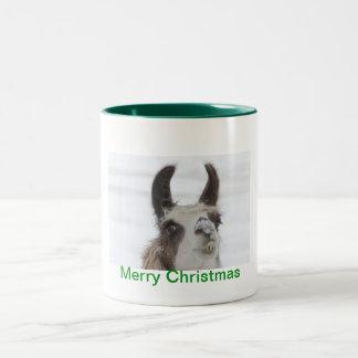 Christmas Llama with Snow on Nose for the Holidays Coffee Mug