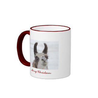 Christmas Llama with Snow on Nose for the Holidays Ringer Mug