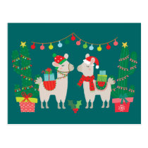 Christmas Llamas Postcard