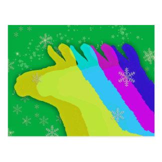 Christmas Llamas With Stars and Snowflake & Music Post Card