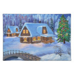 Christmas Log House in Winter Cloth Placemat