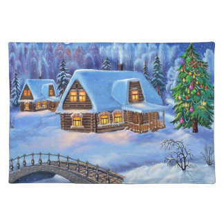 Christmas Log House in Winter Placemat
