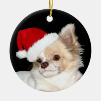 Christmas long haired Chihuahua Ceramic Ornament