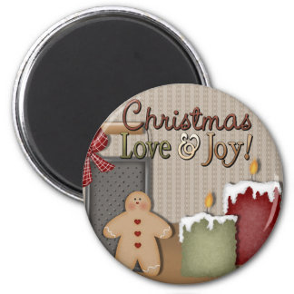 Christmas Love and Joy Gingerbread Candles Magnet